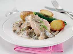 Pink Champagne Chicken in Mixed Mushroom Sauce