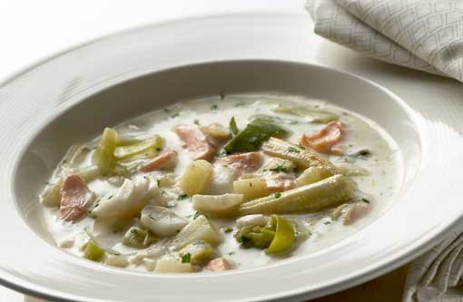 Chunky Salmon and Cod Yogurt Chowder