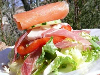 Serrano ham and smoked salmon salad