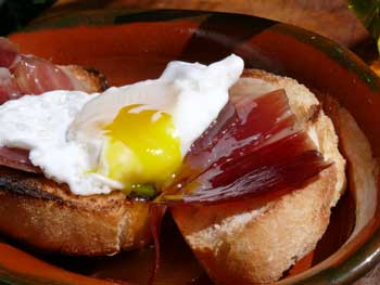 Iberian Bellota Ham and Quails Egg Tostada