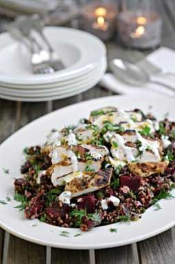 Beetroot, Wild Rice and Herb Salad with Cumin Spiced Grilled Chicken