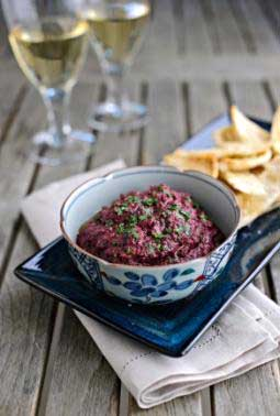 Beetroot Walnut and Herb Dip with Pitta Crisps