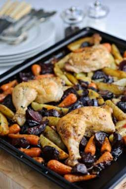 One Pan Roast Lunch of Chicken, Beetroot, Potatoes and Carrots