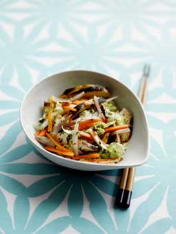 Sticky roast chicken with oriental shallot and carrot salads