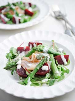 Tiffany Goodall's British Asparagus, Beetroot & Smoked Salmon Salad with a Pepper Dressing