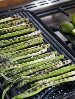 Chargrilled British Asparagus and Spring Onions with Lime and Sea Salt