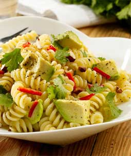 Fusilli with Avocado Chilli Coriander and Toasted Almonds
