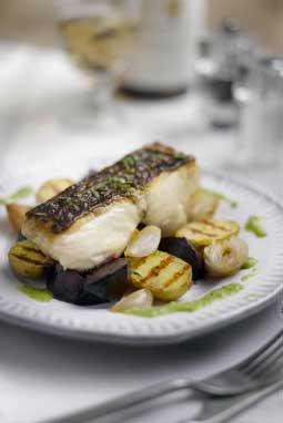 Andrew Nutter's BBQ Fillet of Hake with Caramelised Shallots, Roast Beets and a Garden Pea Dressing