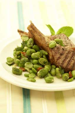 Broad bean and sundried tomato salad with BBQ lamb