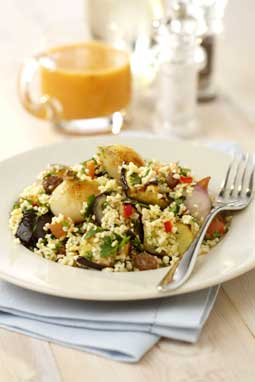 Spiced roasted shallot salad with Bulgur wheat, Aubergine, Raisins and a Chilli and Tomato Dressing