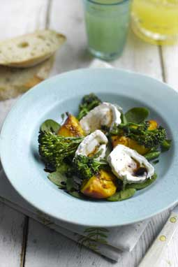 Summer Salad of Grilled Tenderstem®, Peaches and Goats' Cheese