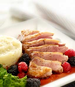 Pan-fried Duck with a Blackberry and Raspberry Sauce