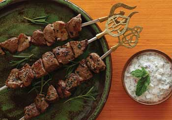 Lamb Skewers with Mint Chutney