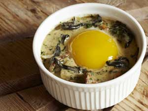 Baked duck egg