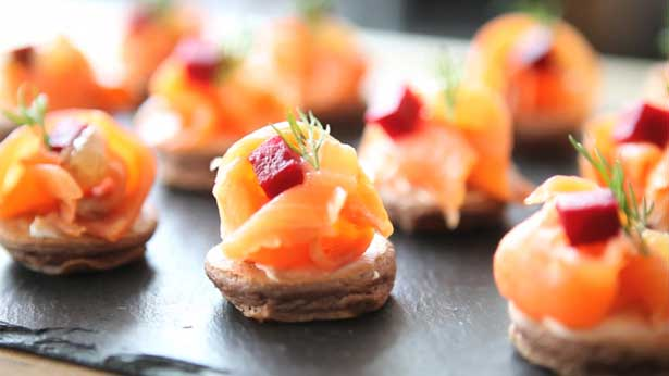 Chocolate Blinis with Smoked Salmon and Poached Lemon