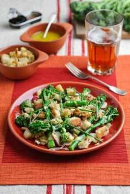 Tenderstem Broccoli with Shallot Vinaigrette and Croutons