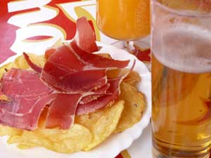 Serrano ham and beer