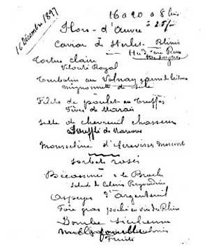 Escoffier menu 16 December 1897