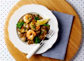 Freekeh Salad with Prawns, Shallots and Tenderstem